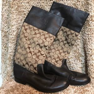 Coach Olivia Brown Leather Riding Boots
